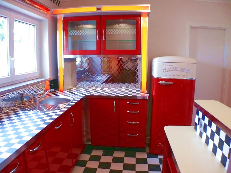 american diner k che home design ideen. Black Bedroom Furniture Sets. Home Design Ideas