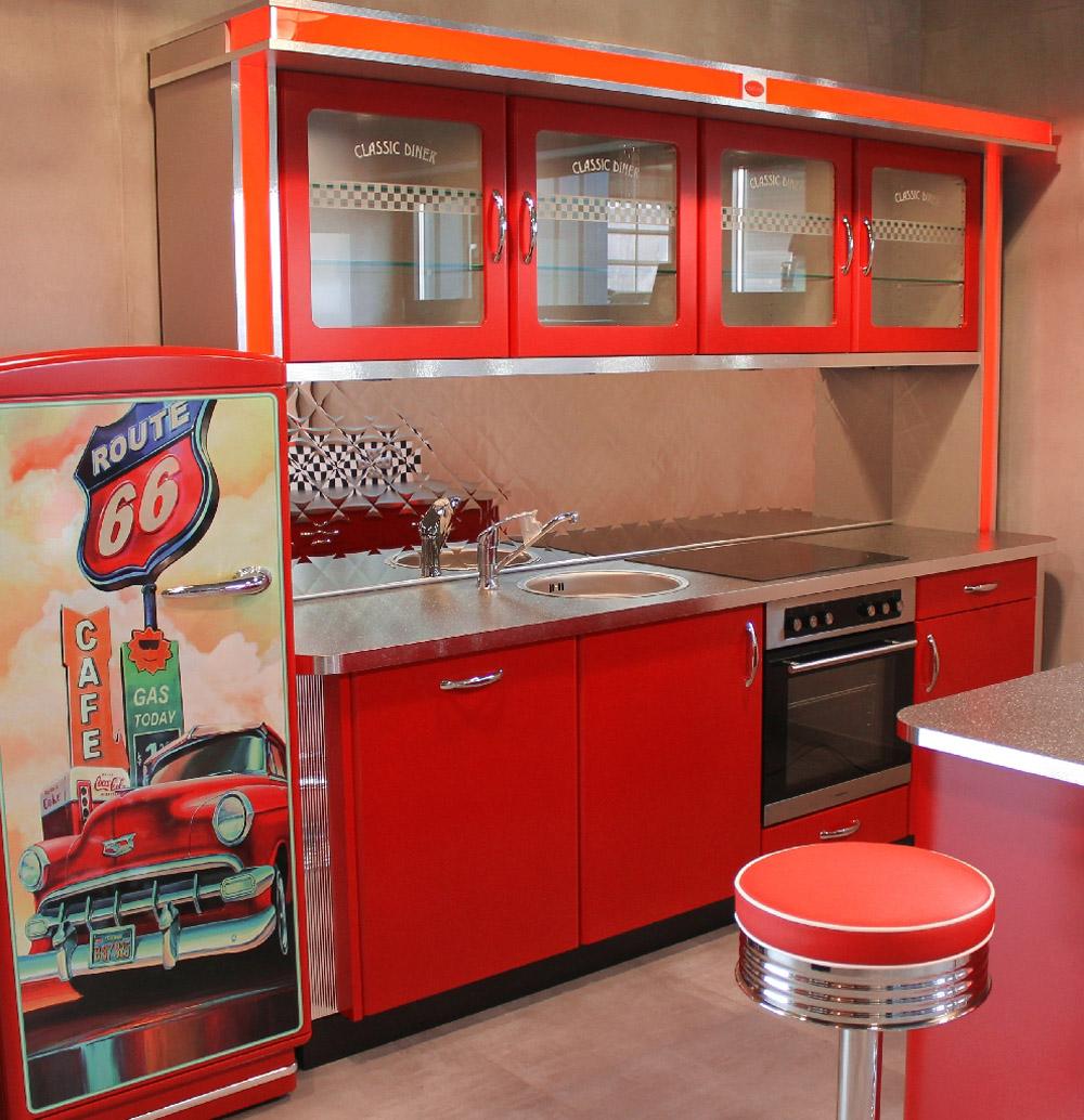 Nett Diner Küche Bilder >> Tapete Kuche Usa Diner Grau Silber Glanz ...
