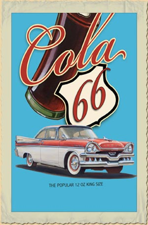 amerikanischer retro k hlschrank mit cola route 66 werbung in gelb. Black Bedroom Furniture Sets. Home Design Ideas
