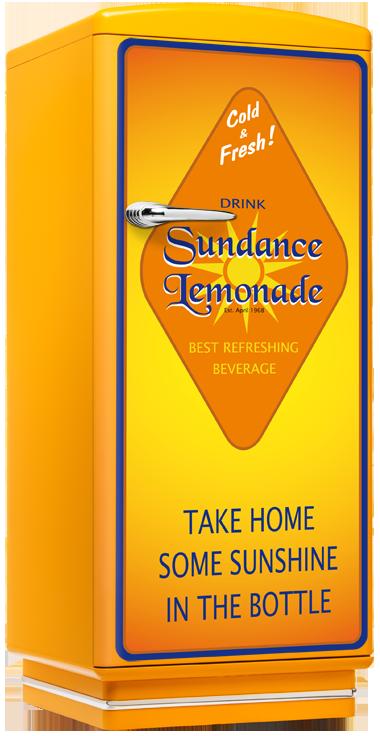 amerikanischer kühlschrank 50er jahre gelb mit limonaden aufdruck