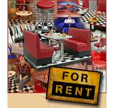American Diner Möbel, Bars und Dekoelemente zur Miete bei American Warehouse