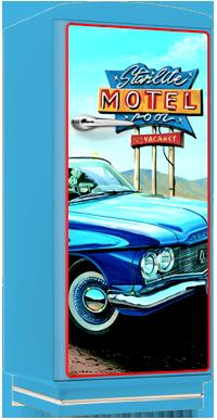 amerikanischer retro k hlschrank der 50er jahre in blau. Black Bedroom Furniture Sets. Home Design Ideas