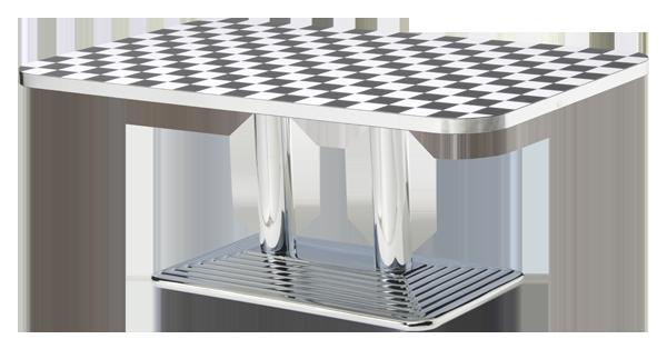 Die Polierten Metallkanten Sind Garantiert Verzugsfrei Und In Diesem  Chromähnlichen Glanzgrat Exclusiv Nur An Den Tischen Von American Warehouse  Zu Finden.