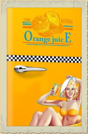 amerikanischer retro k hlschrank orange juice in gelbamerican diner m bel im retro stil kaufen. Black Bedroom Furniture Sets. Home Design Ideas