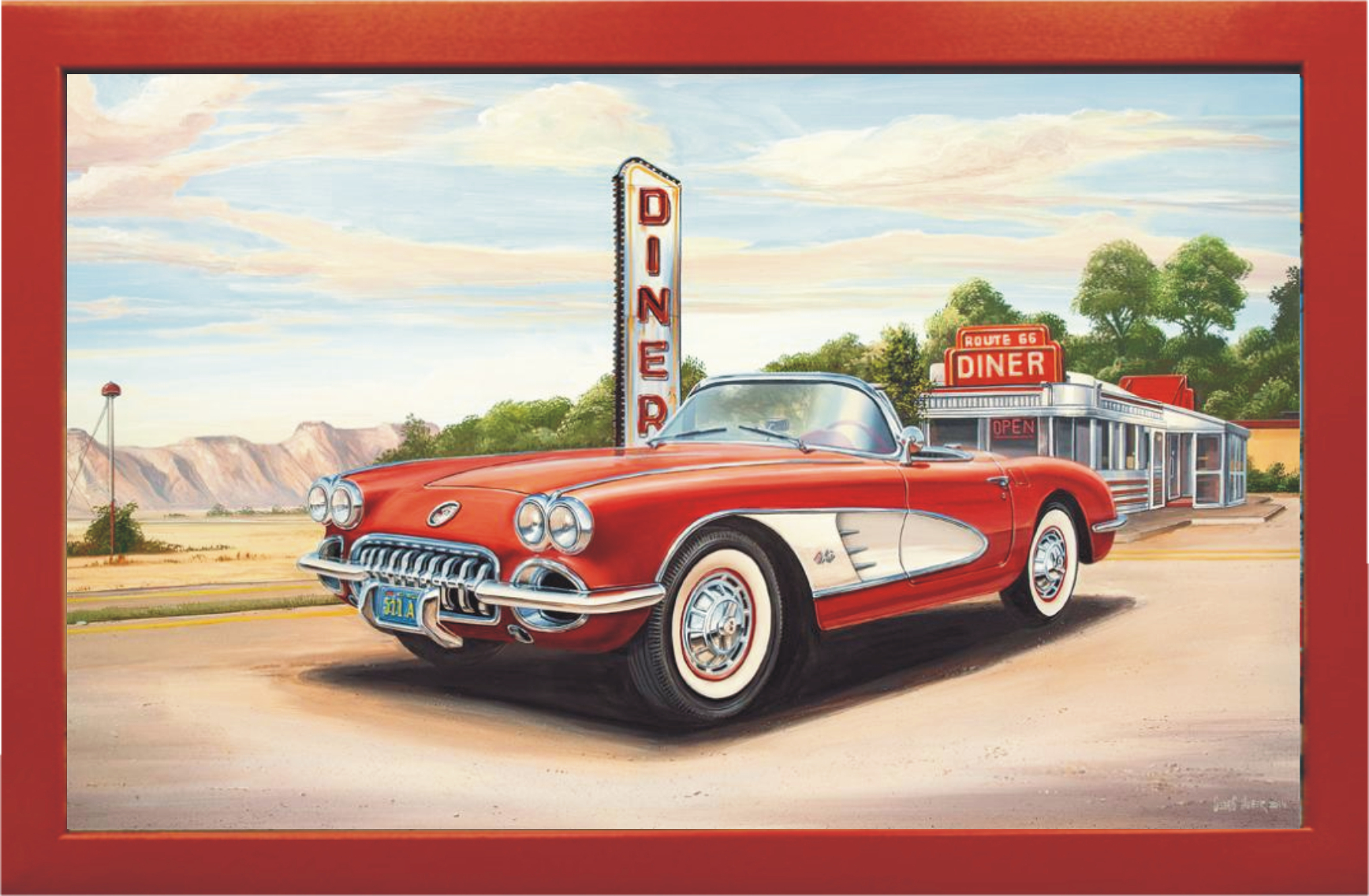 Vette at a Diner Wandbild