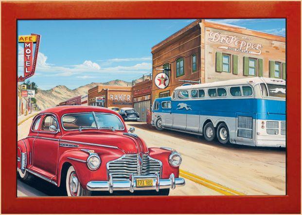 Vintage Art Wandbild Bus Stop