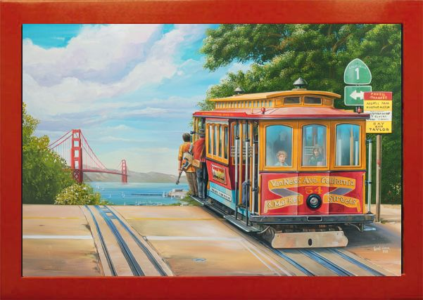 Vintage Art Cable Car San Francisco