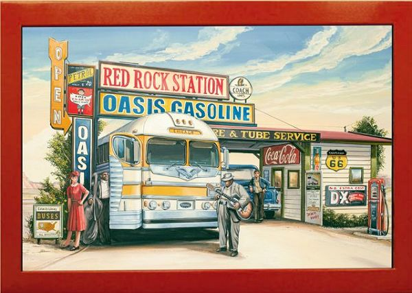 Red Rock Tankstelle Vintage Art