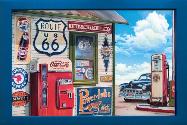 Wandbild The Stop Nostalgie Tankstelle