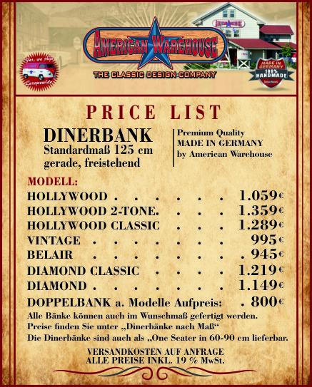 Preisliste Dinerbänke 125